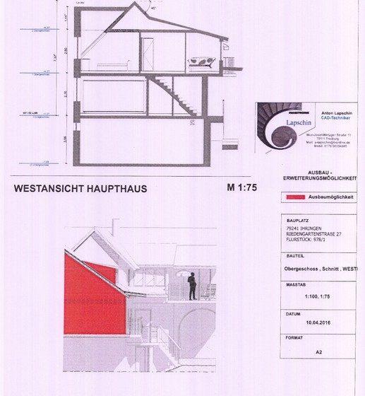 Schnitt+Westansicht Haupthaus